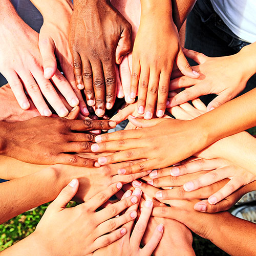 people joining hands