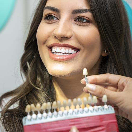 woman with beautiful smile teeth whitening